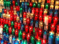 Candles lit to offer prayers or offerings