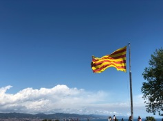 The Catalan Flag flying high atop the Castle Walls