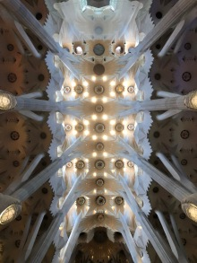 The inside ceiling of La Sagrada