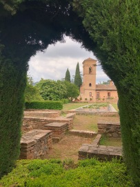 Looking back at the houses of the Alhambra, and the crypt