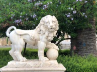 The lion symbolising Spain, with it's foot on the Globe, symbolising Spain's domination of the World