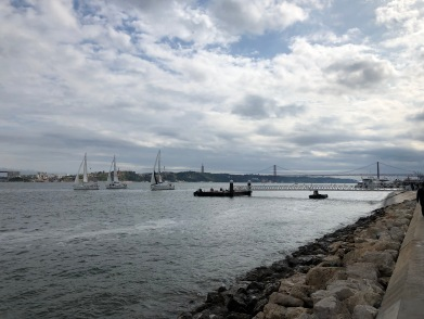 Running along the Port of Lisbon
