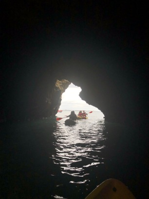Kayaking through the caves