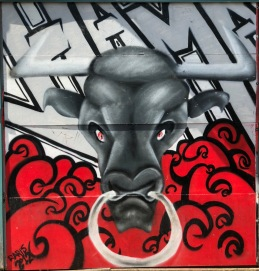Bull fighting street art