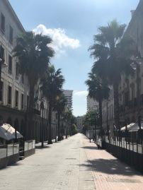 The deserted main street of Huelva